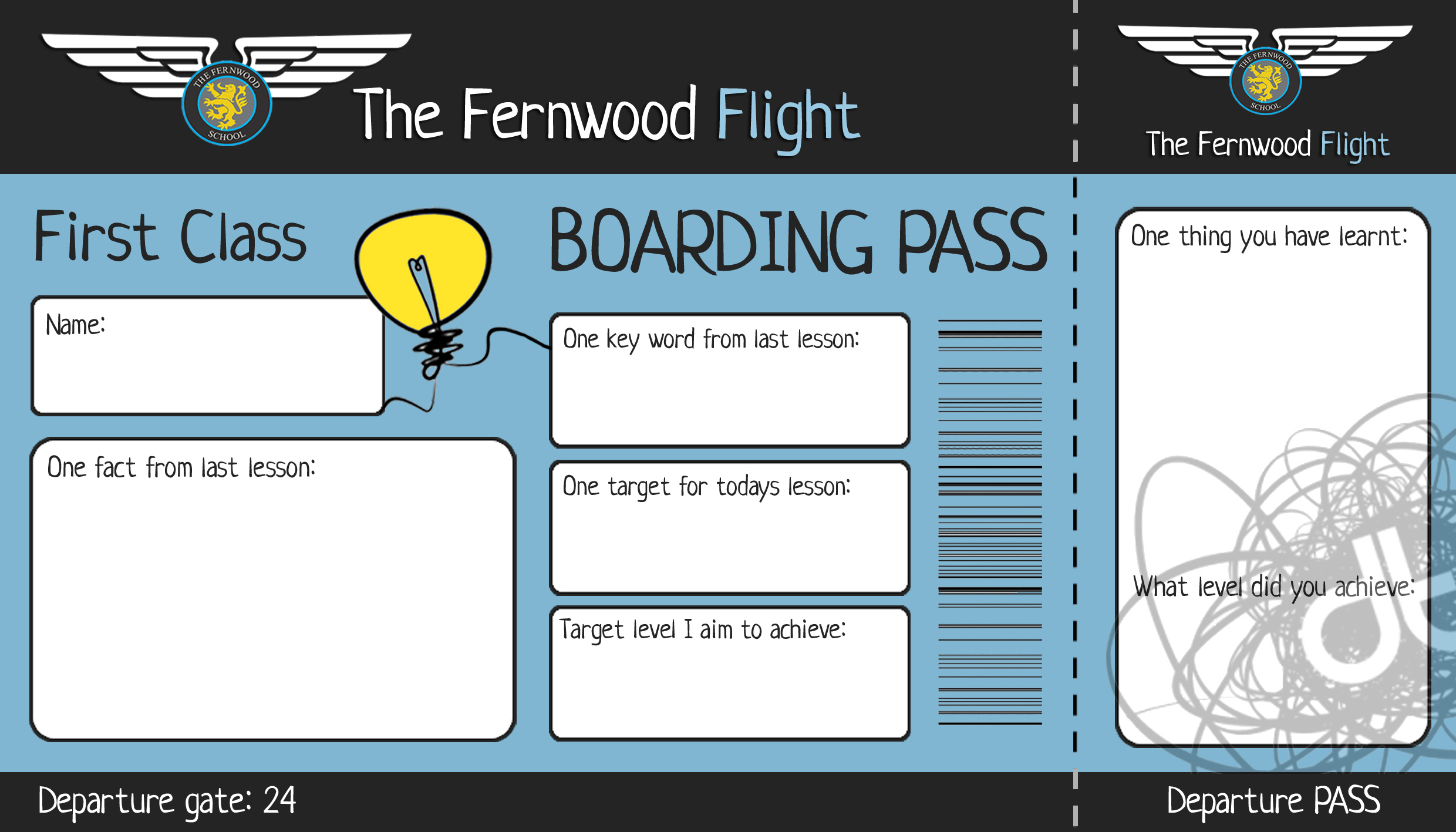 Used as a starter (Boarding Card) and plenary (Departure Pass)